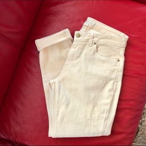 Boston Proper Off White Distressed Ankle Jeans 6